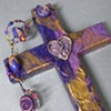 CLOSE UP PURPLE HEART WITH TREBLE CLEF COLLAGE WALL CROSS