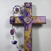 PURPLE HEART WITH TREBLE CLEF COLLAGE WALL CROSS