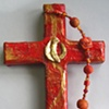 THE SPIRIT IN MOTION GOLD & RED COLLAGE CROSS
