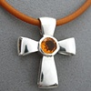 H23  THE GIFT OF GOD CROSS  W/ FACETED CITRINE