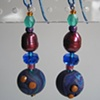 BLUE, BERRY, & TEAL  POLYMER CLAY BEADED EARRINGS