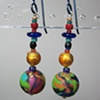 BRIGHTS ON BLACK ROUND  POLYMER CLAY BEADED EARRINGS