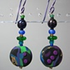 BRIGHTS ON BLACK FLAT ROUND  POLYMER CLAY BEADED EARRINGS