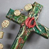 THE SPIRIT IN MOTION GREEN & COPPER COLLAGE CROSS CLOSE UP