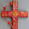 RED & GOLD COLLAGE CROSS W/ LOTUS