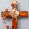 FEED MY SHEEP QUATREFOIL  ON RUST COLLAGE CROSS