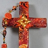 HEARTS ENTWINED IN CHRIST ON ORANGE & BLACK COLLAGE CROSS