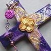 PURPLE COLLAGE CROSS WITH  DOGWOOD QUATREFOIL