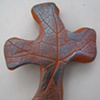 BLUE ON BROWN HAND CROSS WITH LEAF IMPRESSIONS (SOLD)