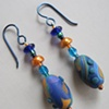 BLUES & GOLD  POLYMER CLAY BEADED EARRINGS