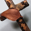 BRONZE LEAVES ON BROWN  COLLAGE WALL CROSS