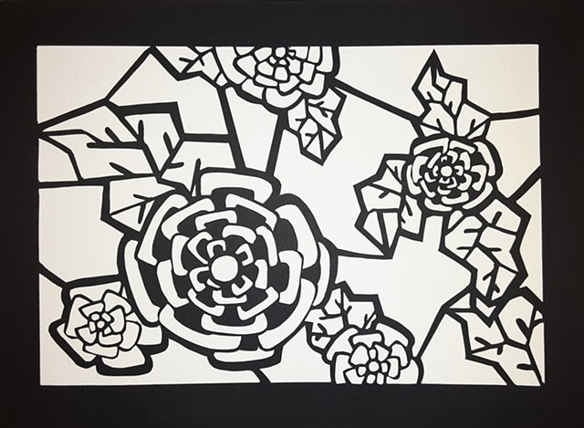 black and white line drawing of flowers