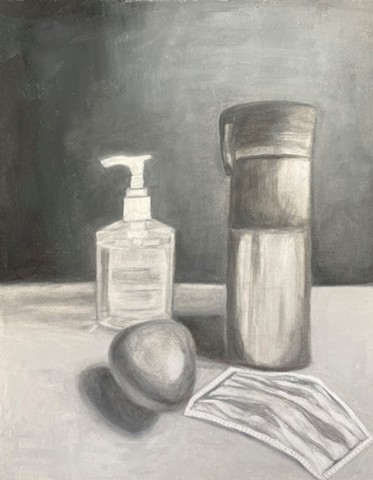 black and white painting of mask, two bottles, and egg