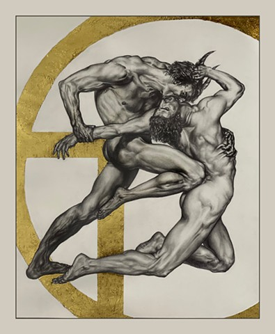 two nude figures entwined with decorative gold shape in background