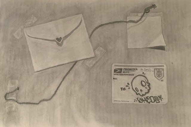 graphite drawing of envelopes and notes