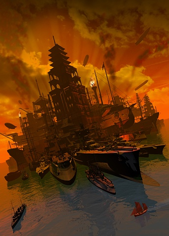 "MY ARMADA  One of the cities created and described in the new China Miéville Novel ""Kraken"""