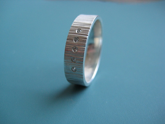 Cog Wedding Band with Diamonds