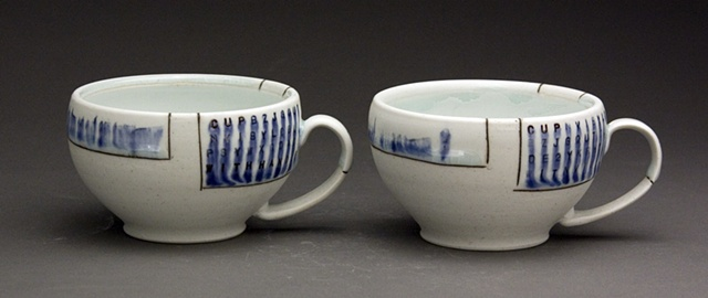 Two coffee cups with handle