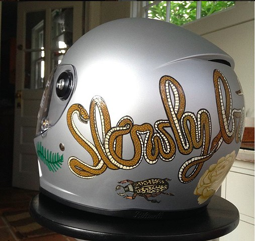 """Slowly but Surely"" helmet, left"