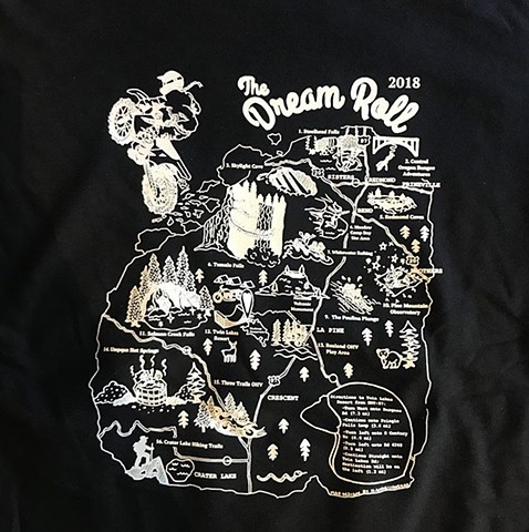 Map Illustration Tee for Dream Roll 2018, detail