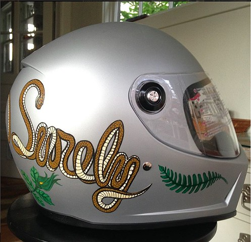 """Slowly but Surely"" helmet, right"