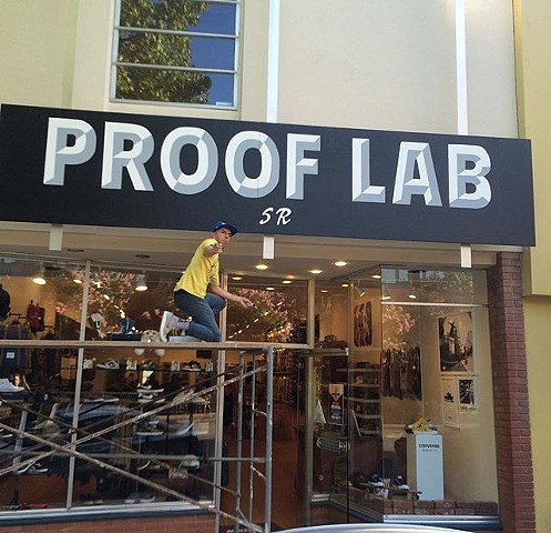 store front signage for Proof Lab SR