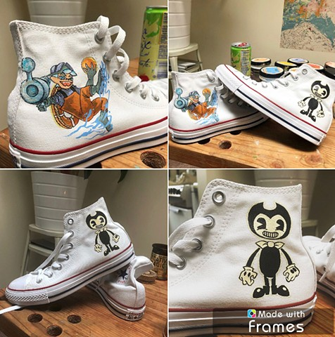 Client request for video game characters on their Chucks.