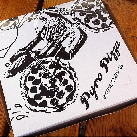 Pizza Box Illustration for Pyro Pizza