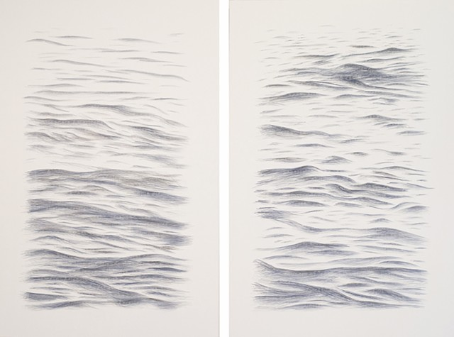 Joanne Aono Blue Fields East/West Diptych Hashi Drawing