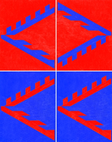 Diamond X: red and blue sequence