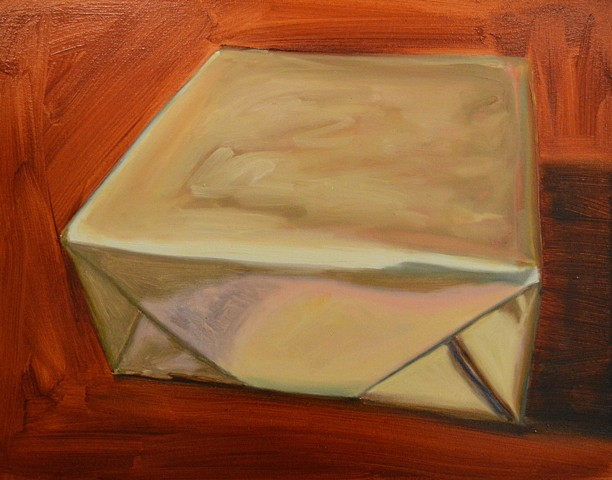 gold box painting, gold gift, oil painting, Chicago artist, Gwendolyn Zabicki