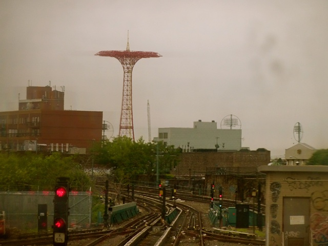 shot from the first subway car as we arrived at Coney Island. Beautiful and rainy, Ireland on the coast of Brooklyn.