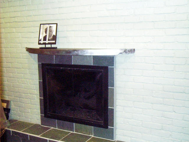 fireplace mantle/ Brushed Steel, St. Louis, MO.