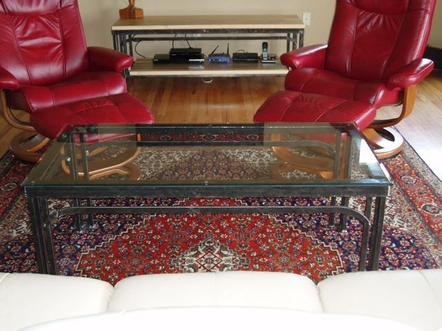Furniture with wood and glass tops