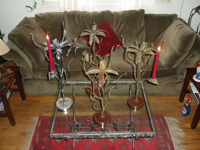 Breathing Metal candlesticks and sculpture