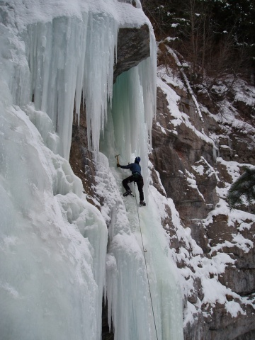 Sabet maneuveing through the ice curtian / Vail, CO.