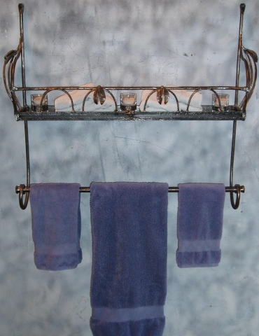 Wrought Iron Towel Rack / Shelf Bracket