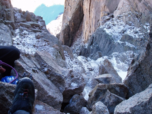 Looking down the Notch couloir, Longs Peak
