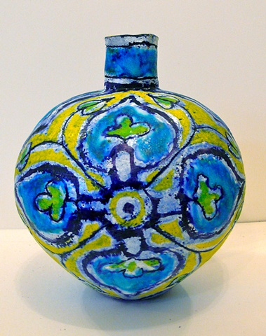 Small Turquoise & Yellow Flower Bottle