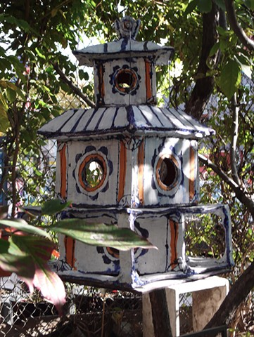 Orange Flower Birdhouse