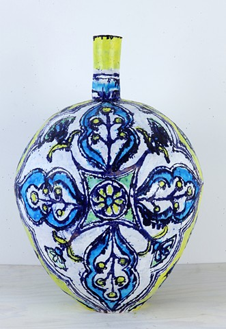 Large Turquoise, Yellow and Pale Green Flower Bottle