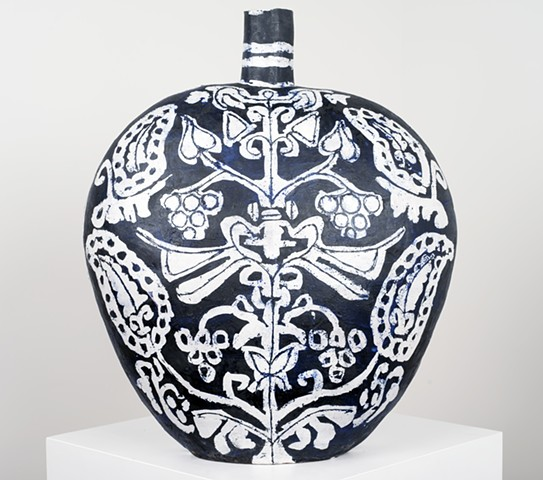 Large Black & White Flask with Tree