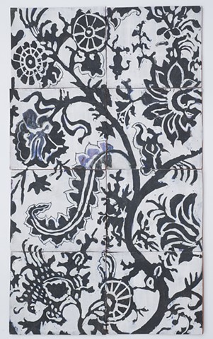 palampore black on white tile panel