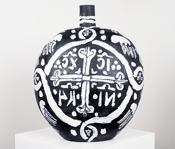 Large Black & White Flask with Seraphim & Cross