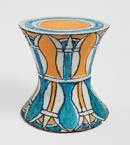 Orange and Turquoise Stool