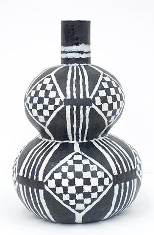 Double Round Hyoutan Bottle with Checker Pattern