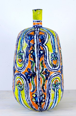 Large Yellow, Red & Turquoise Face Bottle