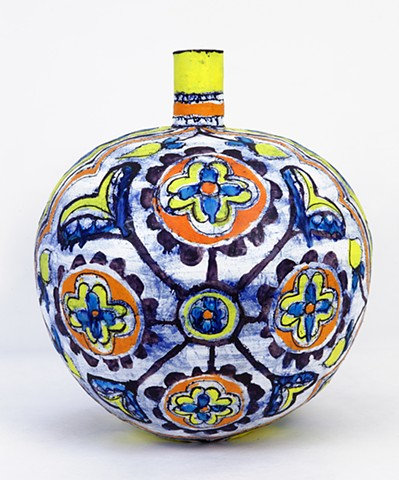 Large Red, Yellow and Blue Round Flower Bottle