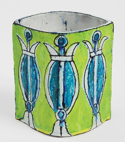 Lime and Turquoise Eye-Shaped Planter