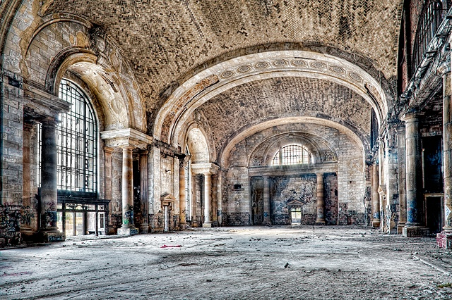 urban decay photography urbex beautiful deconstruction train station railroad detroit
